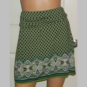 Stretch blend artsy slinky skirt pretty border EUC